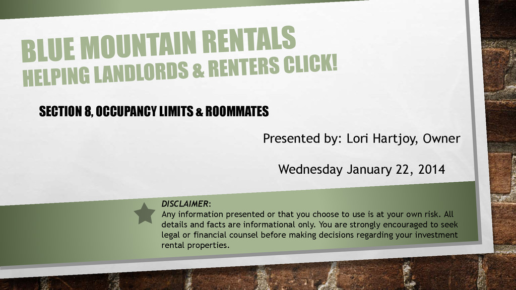 SECTION 8, OCCUPANCY LIMITS & ROOMMATES Present...