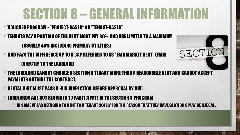SECTION 8 – GENERAL INFORMATION • VOUCHER PROGR...