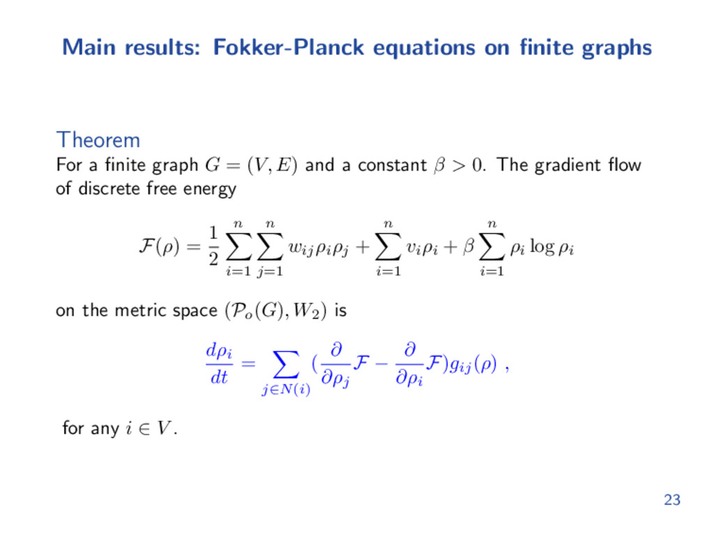 Main results: Fokker-Planck equations on finite ...
