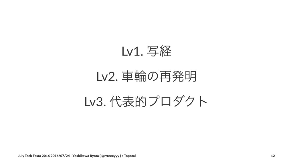 Lv1. ࣸܦ Lv2. ंྠͷ࠶ൃ໌ Lv3. ୅දతϓϩμΫτ July Tech Fes...