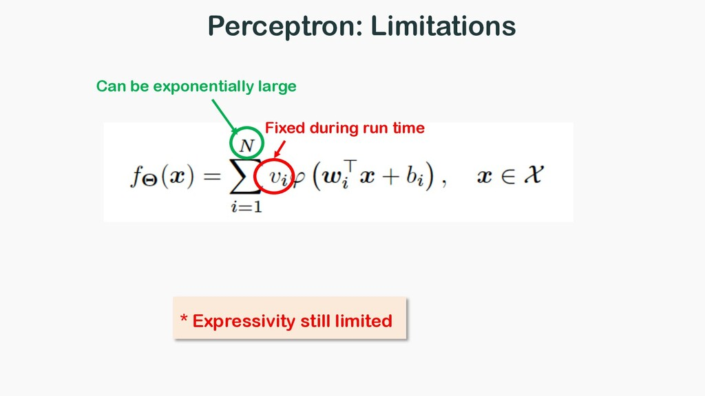 Perceptron: Limitations Fixed during run time *...