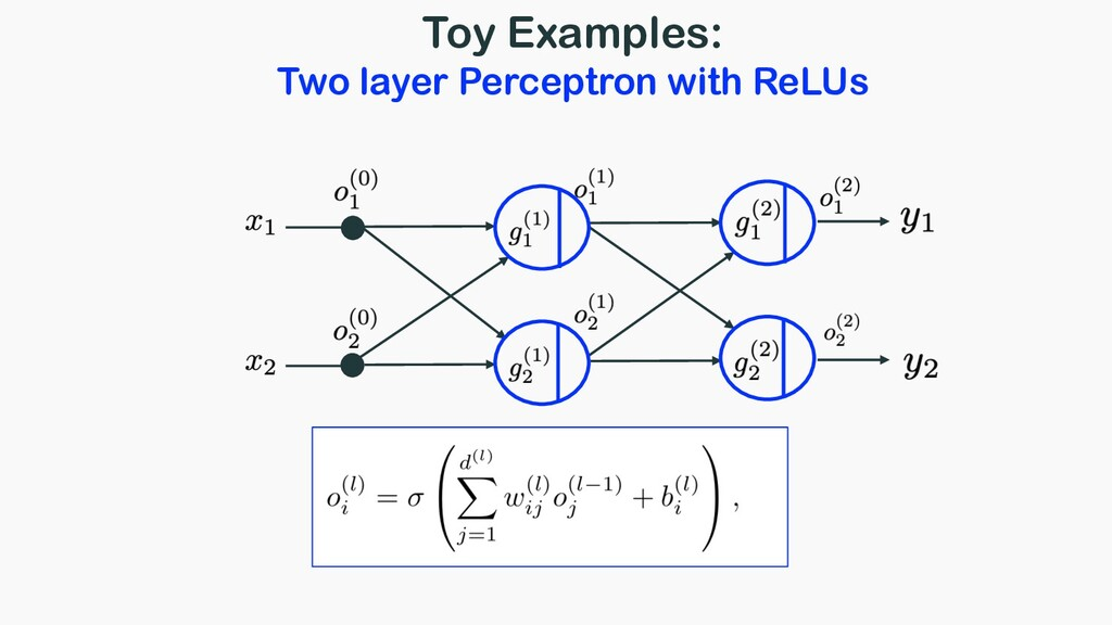 Toy Examples: Two layer Perceptron with ReLUs