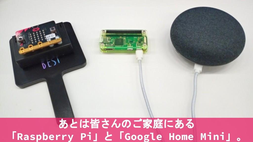 あとは皆さんのご家庭にある 「Raspberry Pi」と「Google Home Mini」。