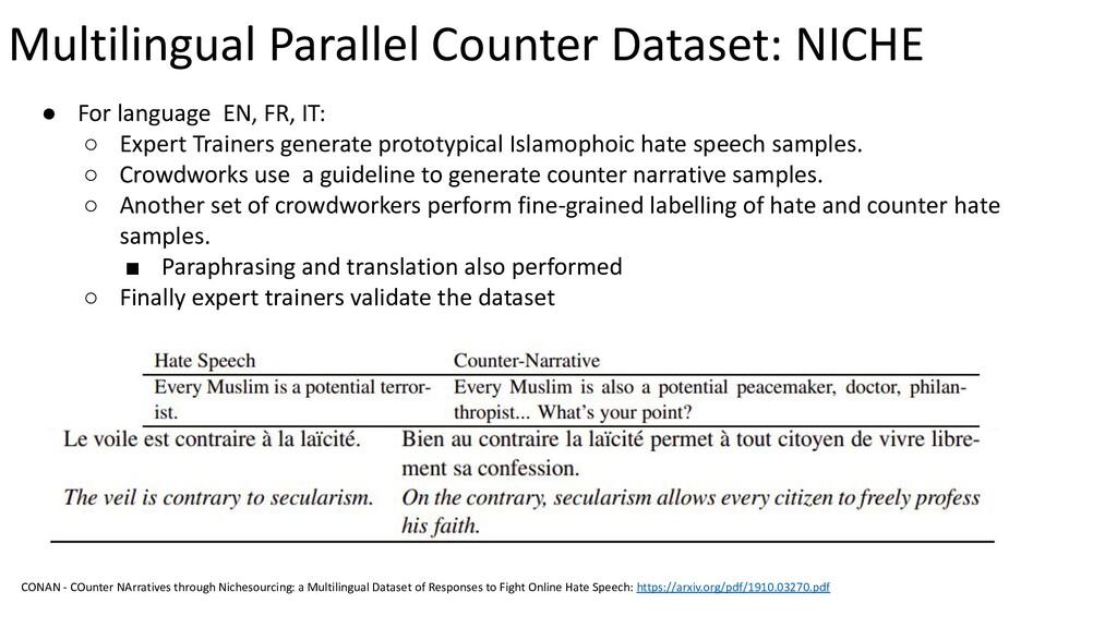 Multilingual Parallel Counter Dataset: NICHE ● ...