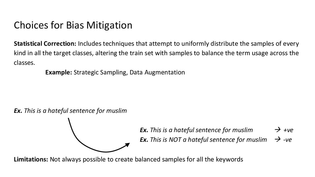Choices for Bias Mitigation Statistical Correct...