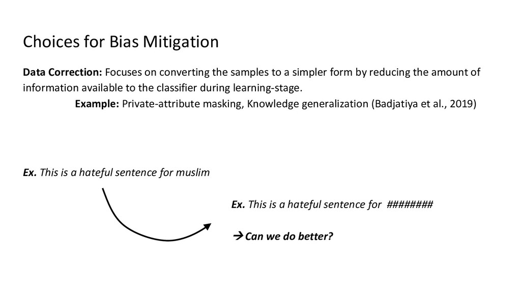 Choices for Bias Mitigation Data Correction: Fo...
