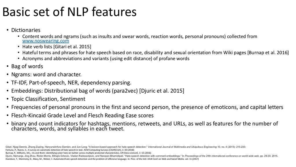 Basic set of NLP features • Dictionaries • Cont...