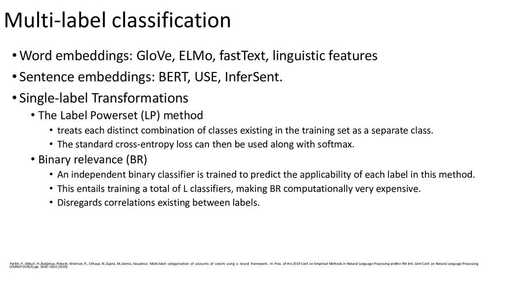 Multi-label classification •Word embeddings: Gl...