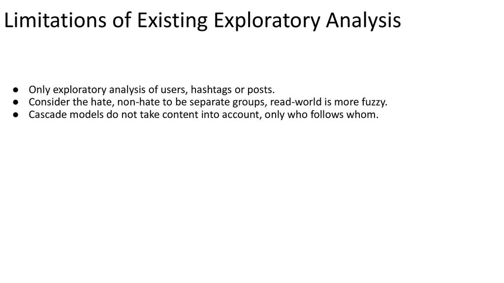 Limitations of Existing Exploratory Analysis ● ...