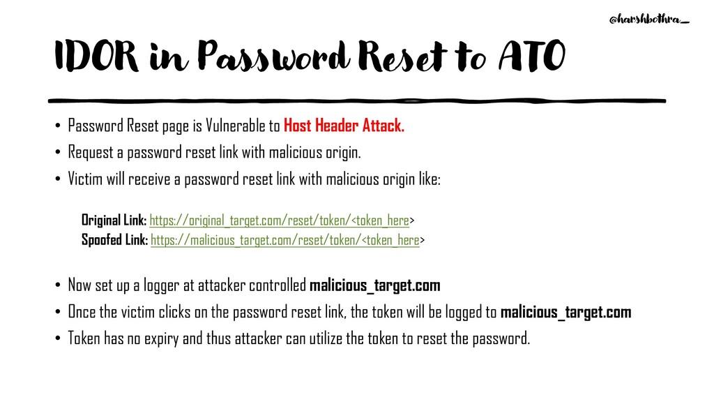 IDOR in Password Reset to ATO • Password Reset ...