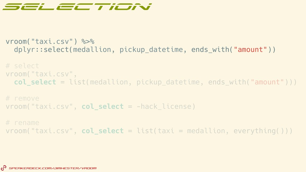 "vroom(""taxi.csv"") %>% dplyr::select(medallion, ..."