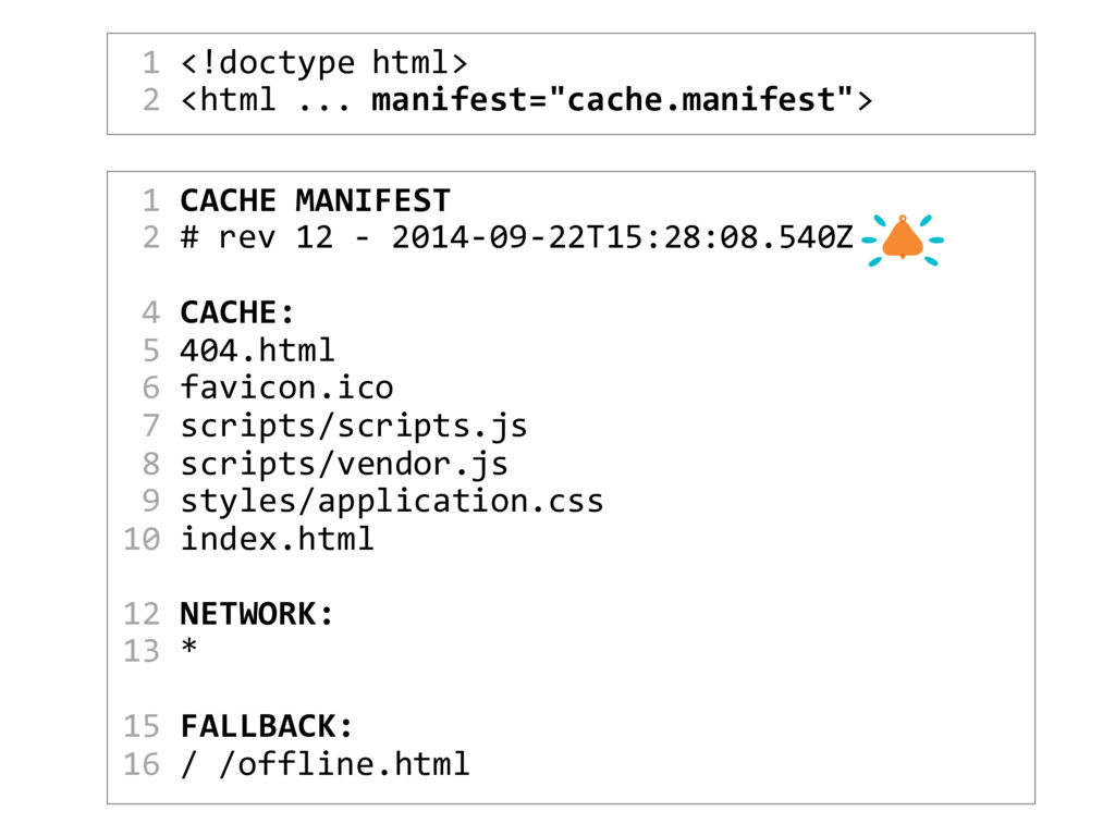 """1 <!doctype html> 2 <html ... manifest=""""cache.m..."""