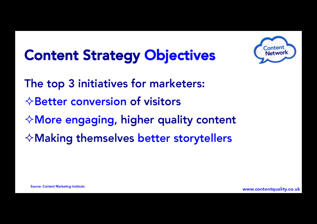 Content Strategy Objectives The top 3 initiativ...