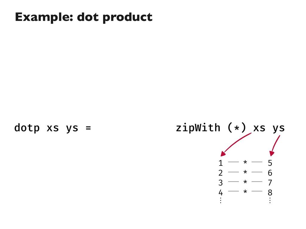 dotp xs ys = fold (+) 0 (zipWith (*) xs ys) 1 2...