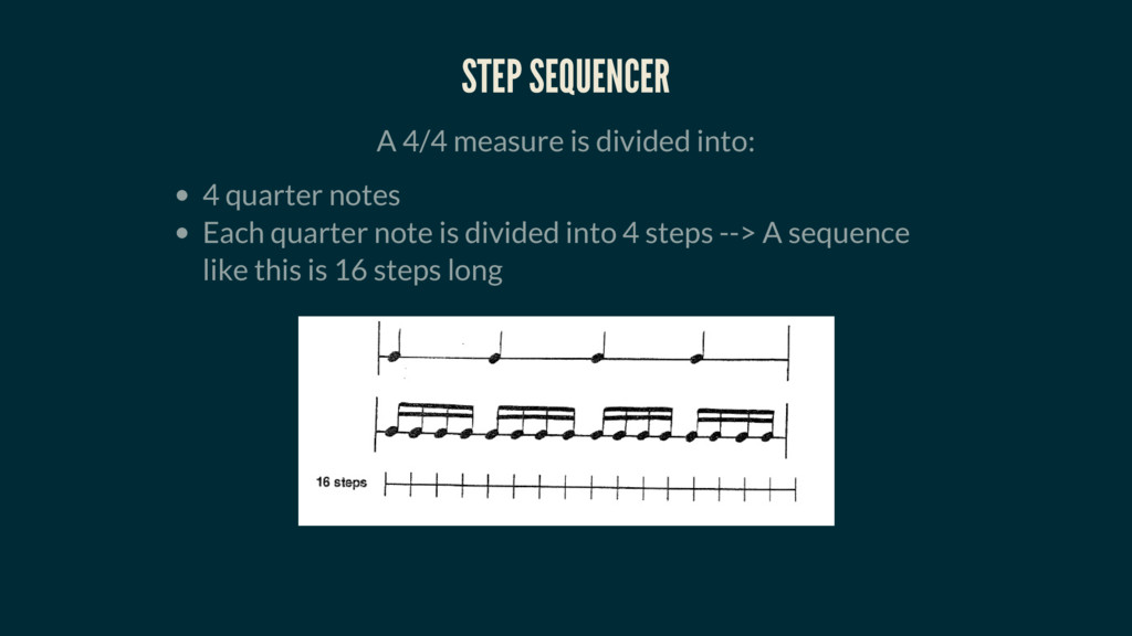 STEP SEQUENCER A 4/4 measure is divided into: 4...