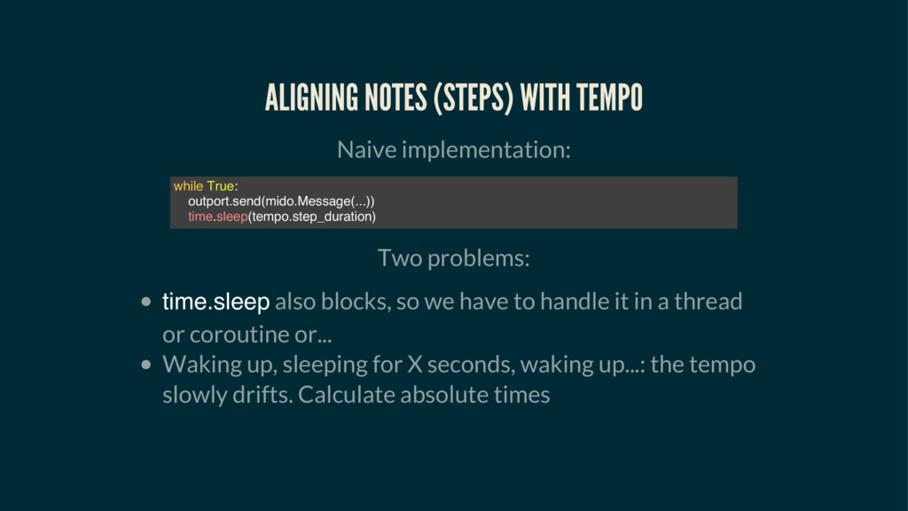 ALIGNING NOTES (STEPS) WITH TEMPO Naive impleme...