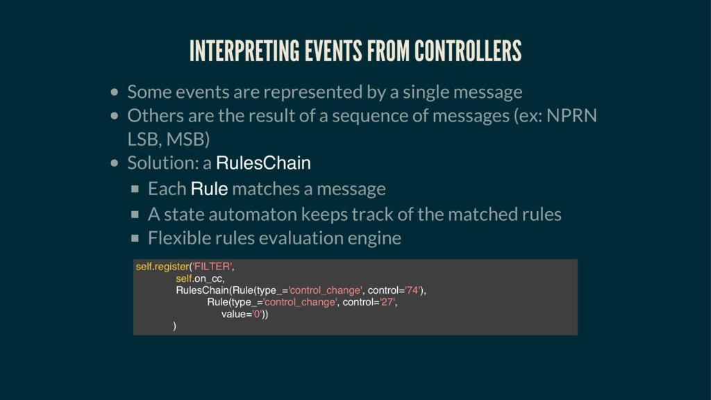 INTERPRETING EVENTS FROM CONTROLLERS Some event...