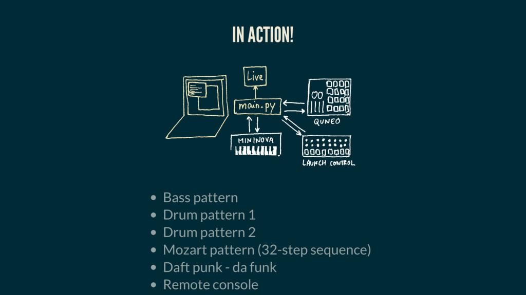 IN ACTION! Bass pattern Drum pattern 1 Drum pat...
