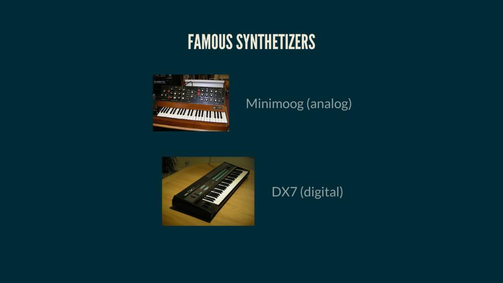 FAMOUS SYNTHETIZERS Minimoog (analog) DX7 (digi...