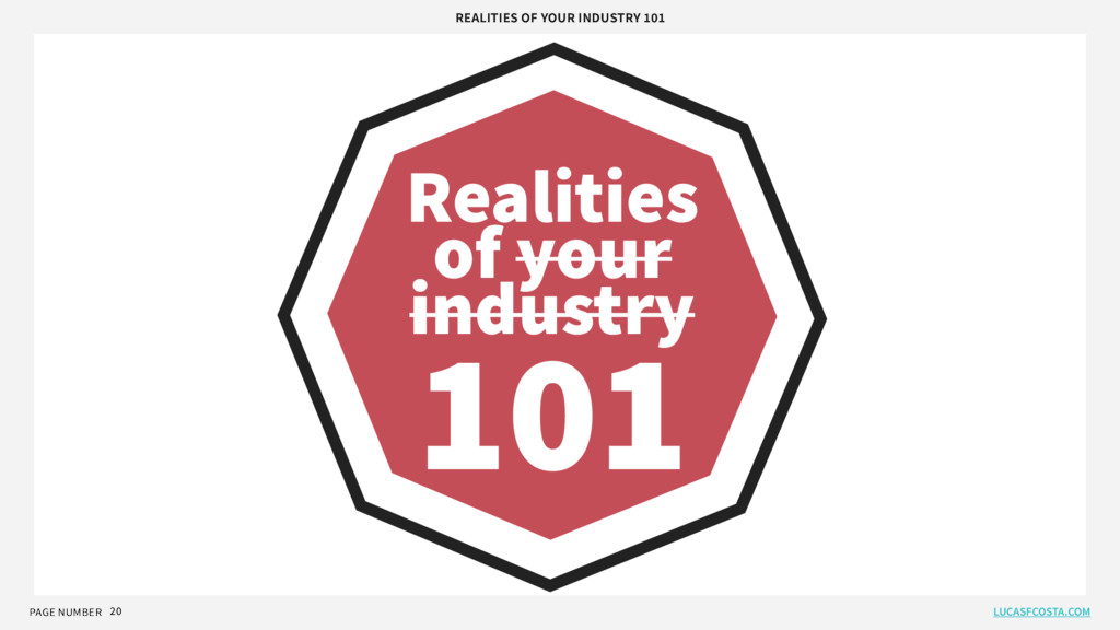 PAGE NUMBER 20 Realities of your industry 101 R...