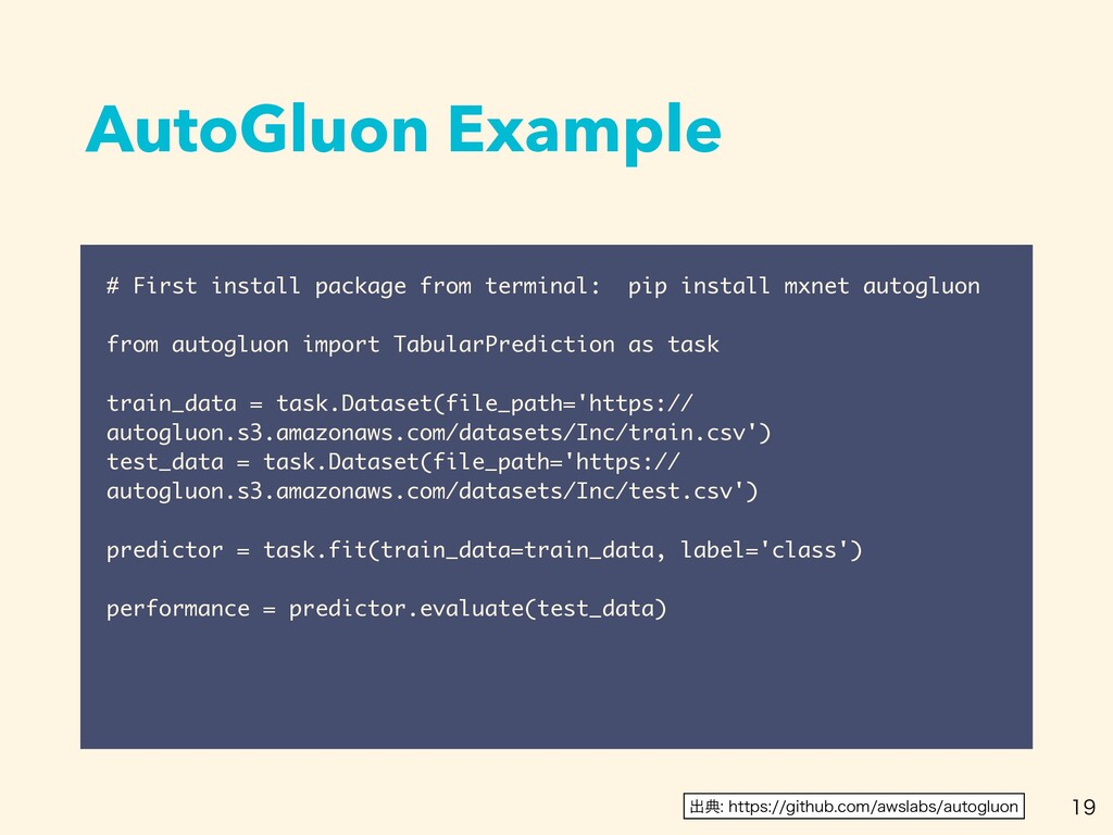 AutoGluon Example  # First install package fr...