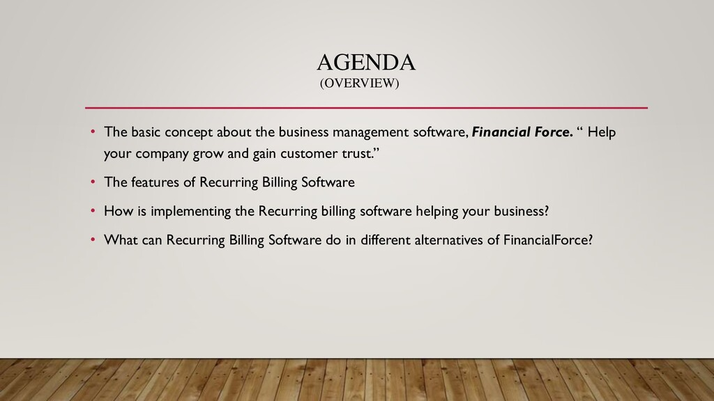 AGENDA • The basic concept about the business m...
