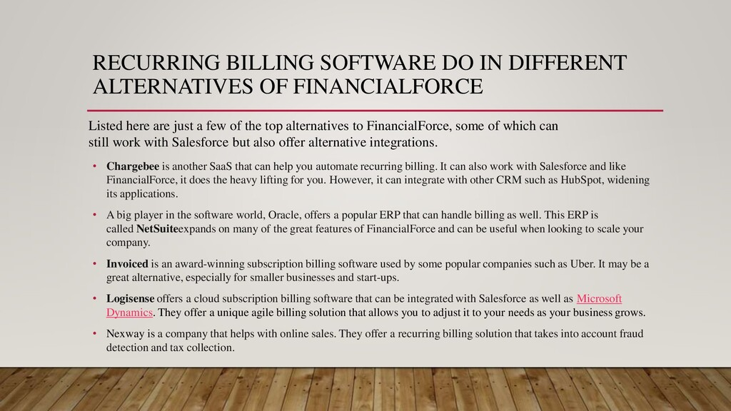 RECURRING BILLING SOFTWARE DO IN DIFFERENT ALTE...