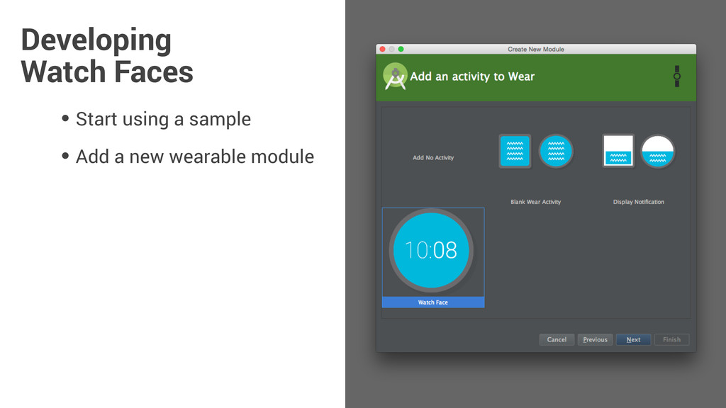 • Start using a sample • Add a new wearable mod...