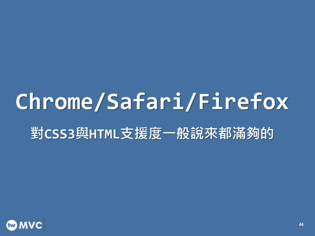 Chrome/Safari/Firefox 對CSS3與HTML支援度一般說來都滿夠的 44