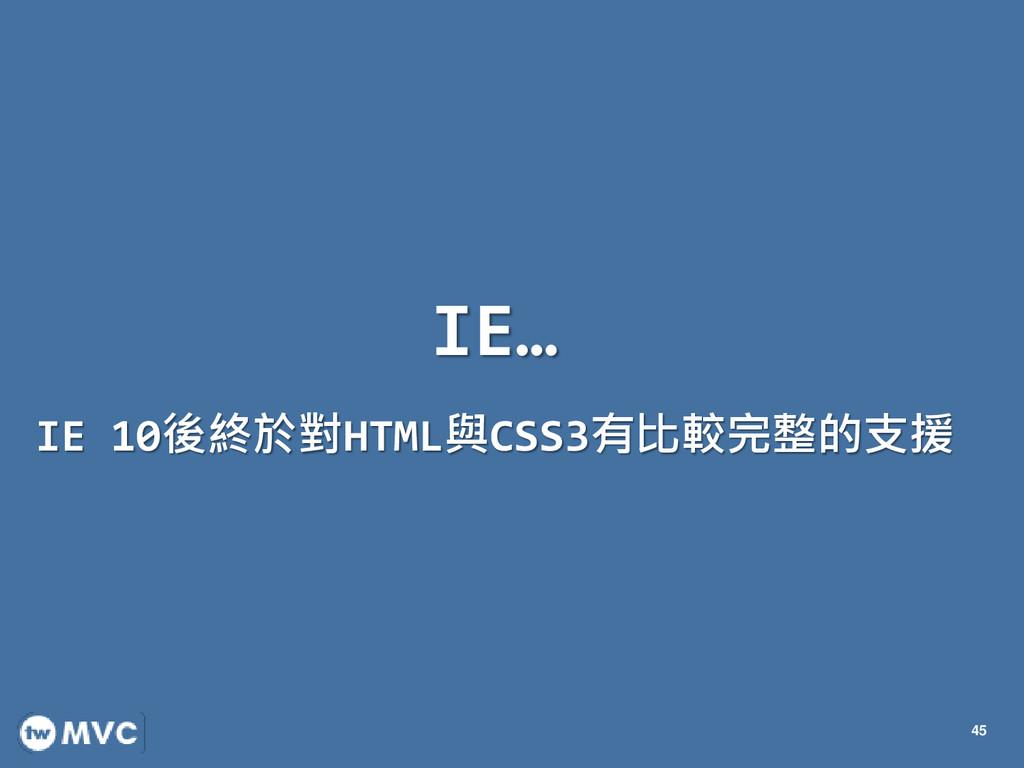 IE… IE 10後終於對HTML與CSS3有比較完整的支援 45