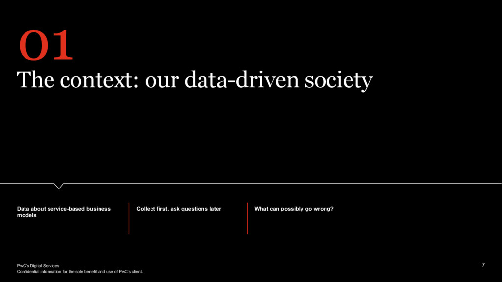 PwC's Digital Services 01 The context: our data...