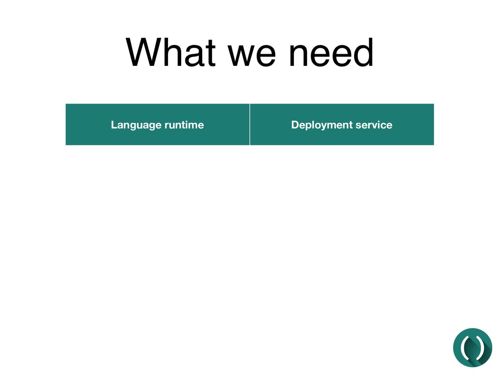 What we need Language runtime Deployment service