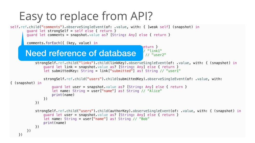 """Easy to replace from API? self.ref.child(""""comme..."""