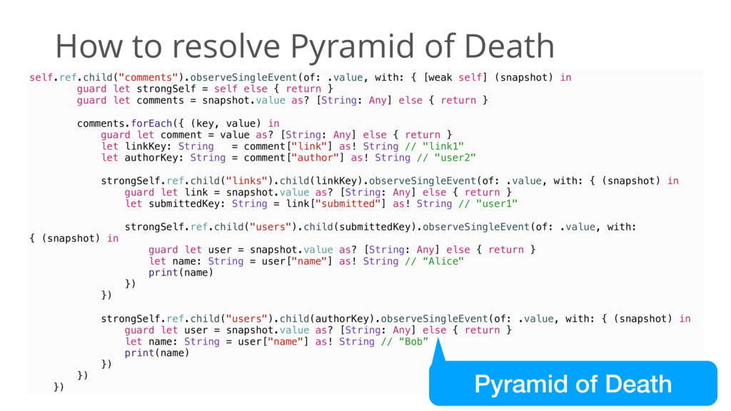 How to resolve Pyramid of Death self.ref.child(...