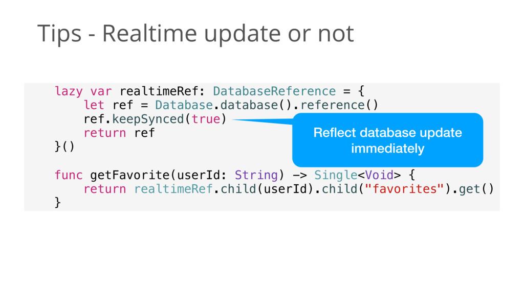 Tips - Realtime update or not lazy var realtime...