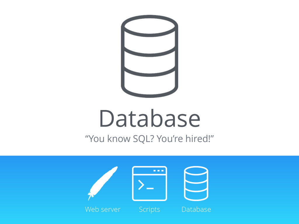 "Database ""You know SQL? You're hired!"" Web serv..."