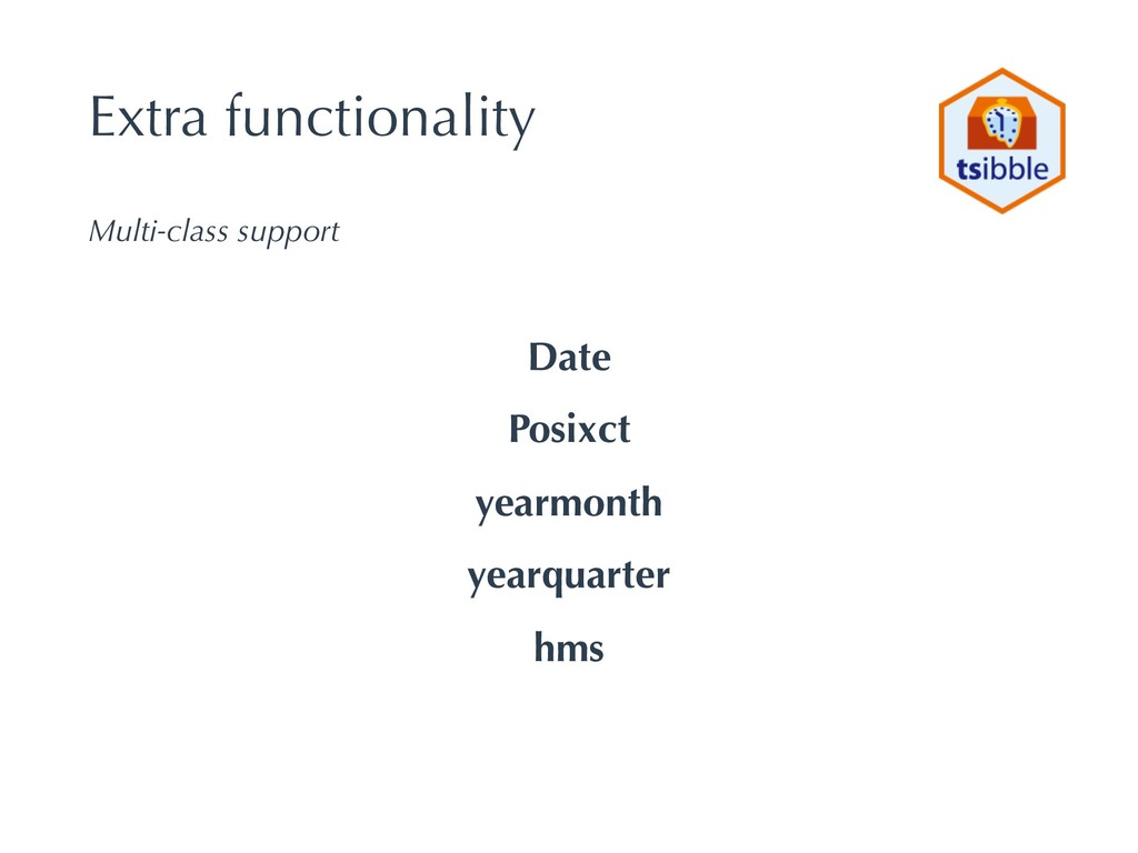 Extra functionality Multi-class support Date Po...