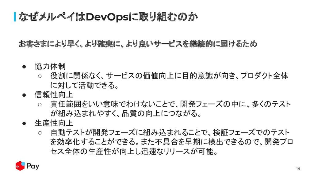 19 なぜメルペイはDevOpsに取り組むのか ● 協力体制 ○ 役割に関係なく、サービスの価...