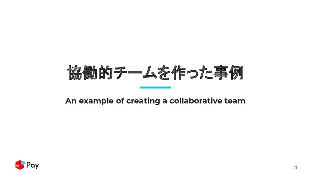 21 協働的チームを作った事例 An example of creating a collab...