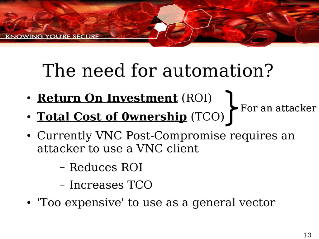 13 The need for automation? ● Return On Investm...