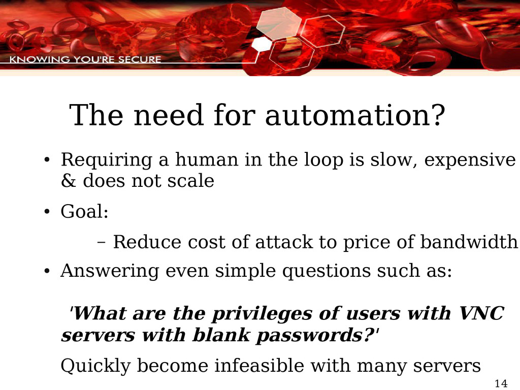 14 The need for automation? ● Requiring a human...