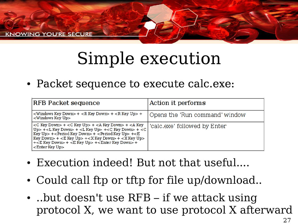 27 Simple execution ● Packet sequence to execut...