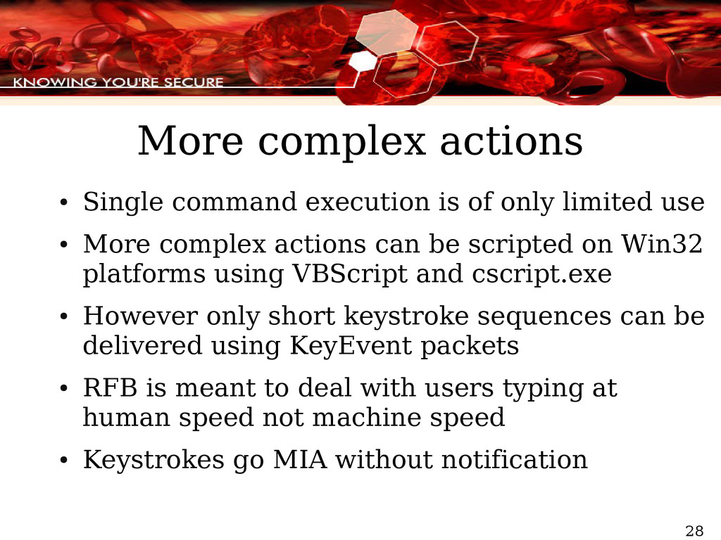 28 More complex actions ● Single command execut...