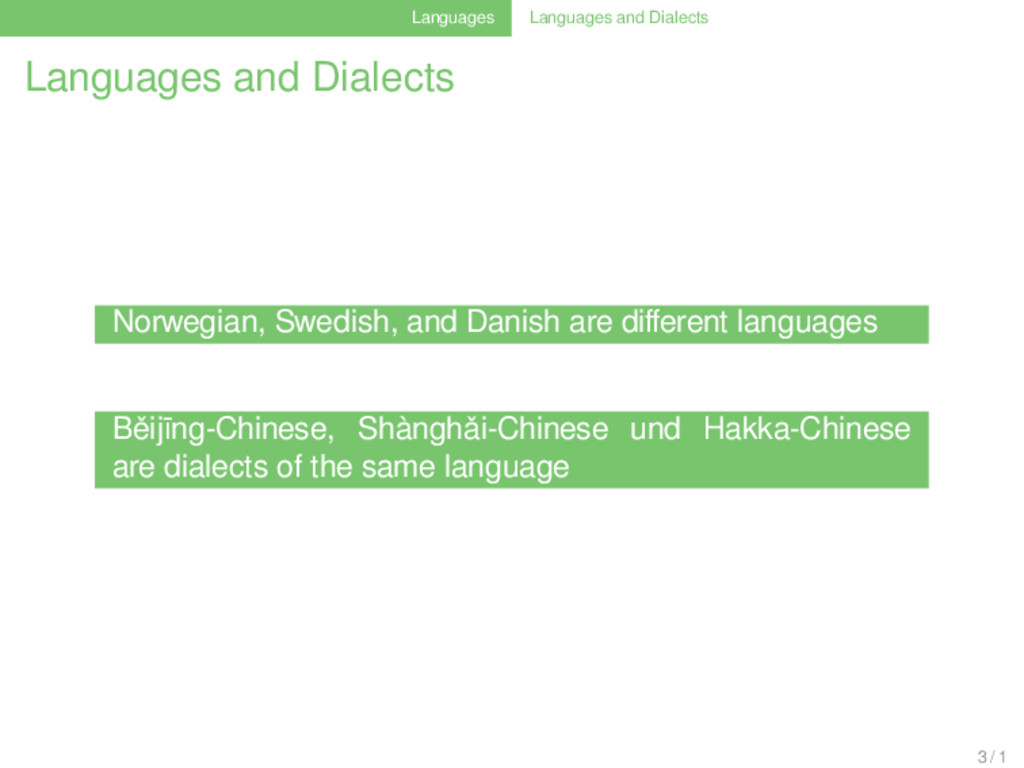 Languages Languages and Dialects Languages and ...