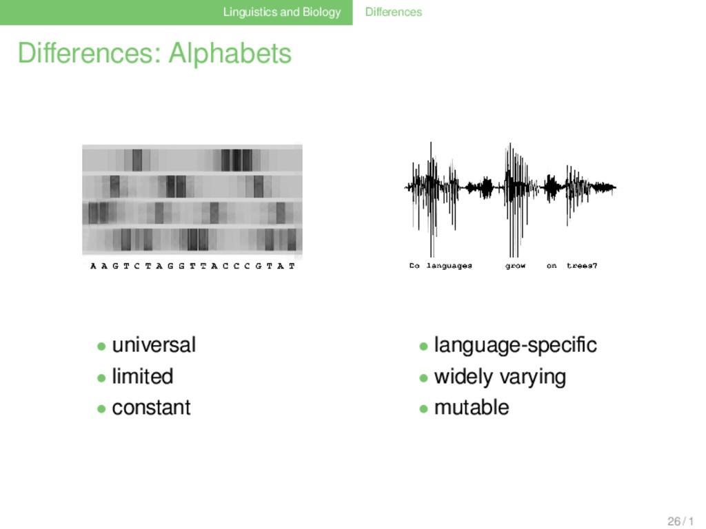 Linguistics and Biology Differences Differences: ...