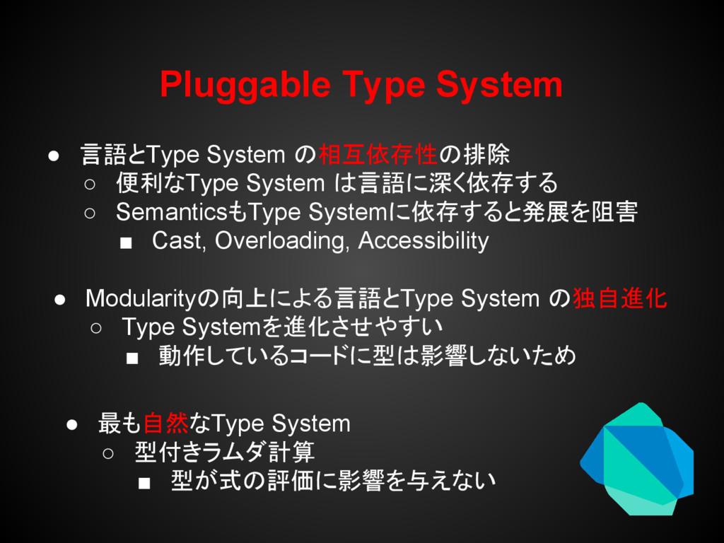 Pluggable Type System ● 言語とType System の相互依存性の排...