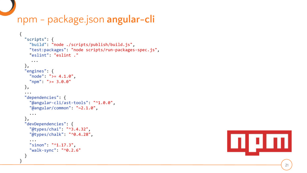 "npm - package.json angular-cli 21 { ""scripts"": ..."