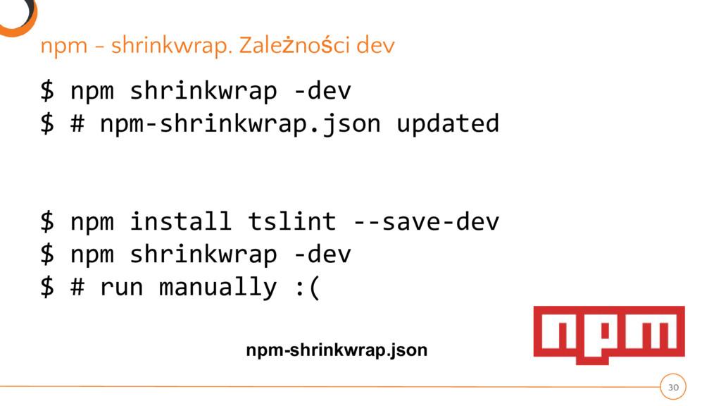 $ npm shrinkwrap -dev $ # npm-shrinkwrap.json u...