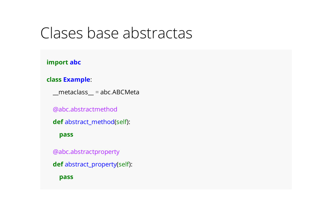 Clases base abstractas import abc class Example...