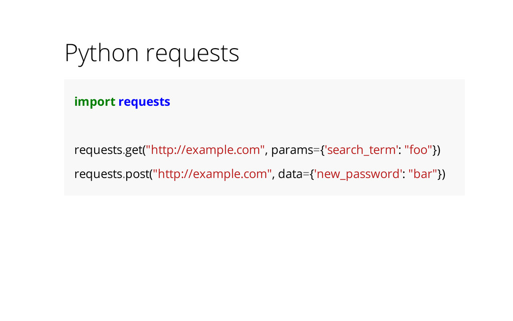 """Python requests import requests requests.get(""""h..."""
